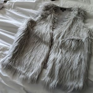 NWT Grey Faux Fur Vest with sweater back
